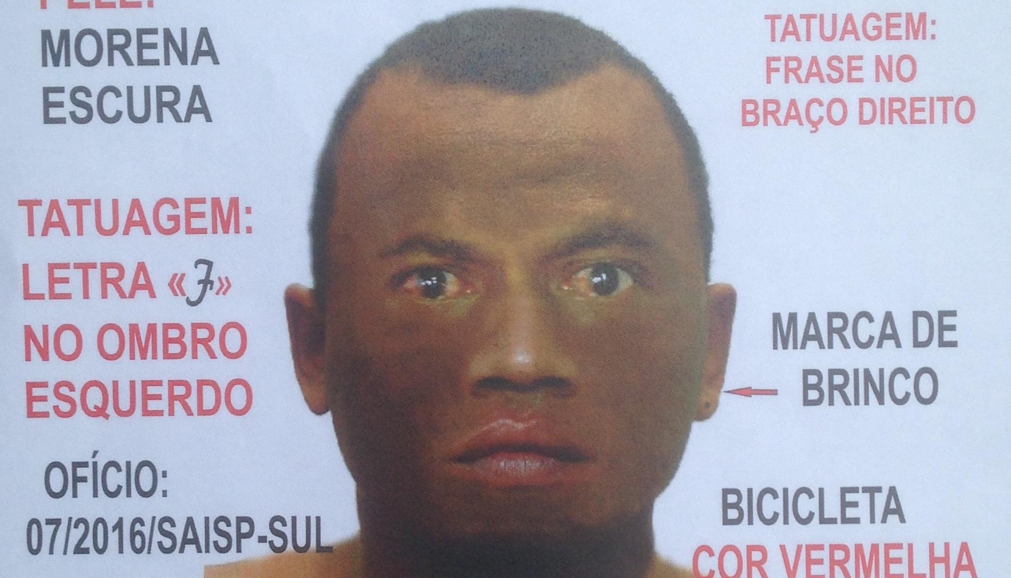 Polícia Civil divulga novo retrato do suspeito de raptar e abusar de menina na Capital