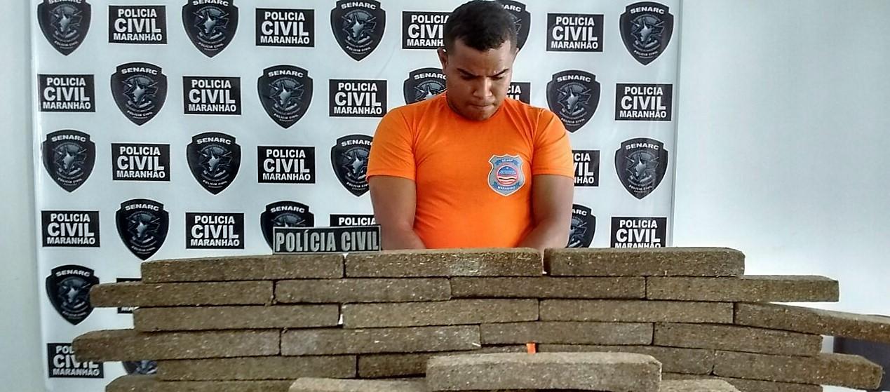 Polícia Civil prende traficante com 60 kg de entorpecentes avaliados em 250 mil reais