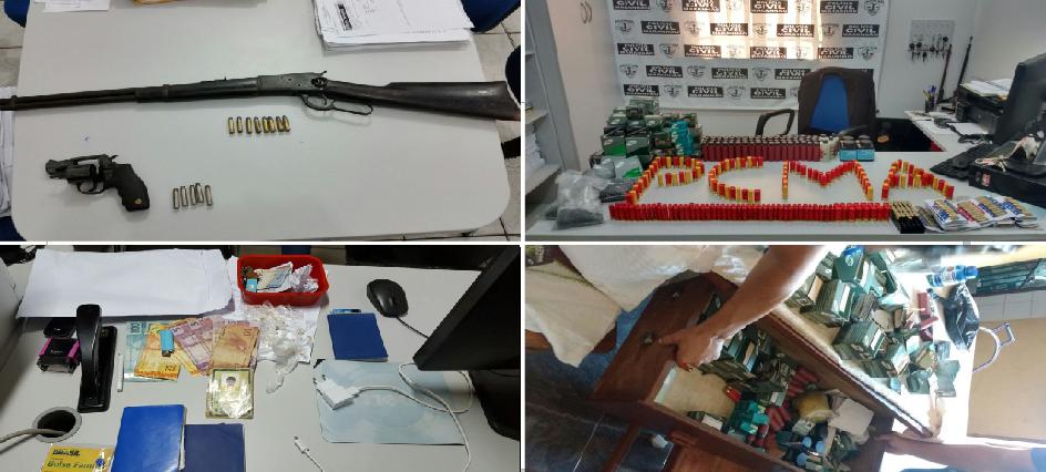 Ações da Polícia Civil incide em prisões nos interiores, por conta da posse ilegal de armas de fogo, apreensão de munições e prende mãe e filho pelo tráfico de entorpecentes