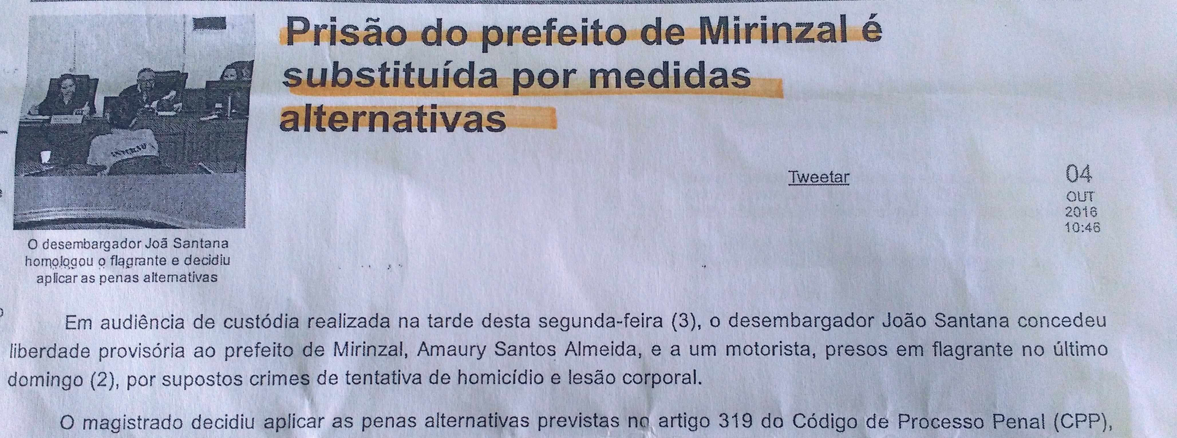 Prefeito de Mirinzal cumpre Penas Alternativas por suspeitas em ações criminosas