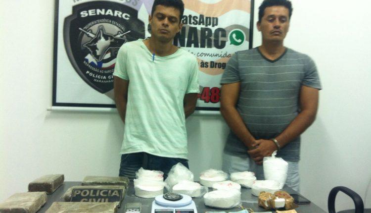 Dois homens são presos pela Polícia Civil com cerca de 12 kg de drogas em São Luís