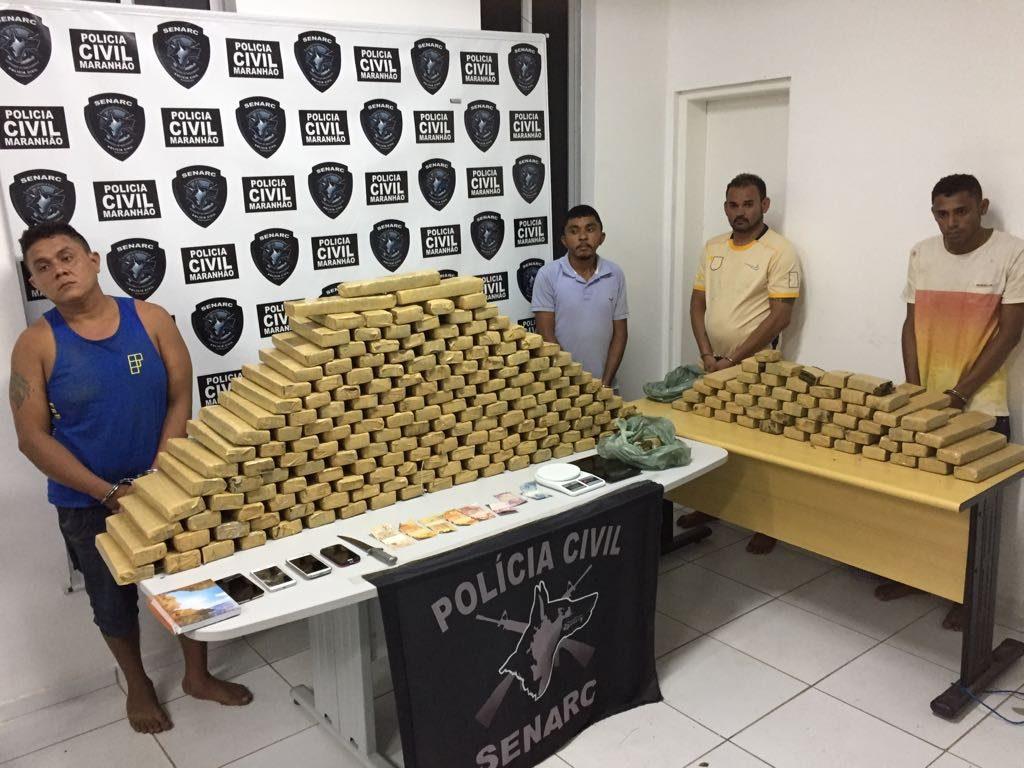 Polícia Civil prende 04 acusados com 300 kg de entorpecentes na Raposa, avaliados em 500 mil reais