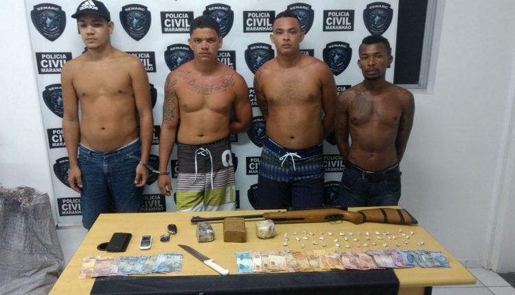 Quarteto suspeito por tráfico de drogas é preso pela Polícia Civil em São Luís
