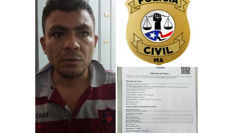 Polícia Civil do Maranhão cumpre mandado de prisão de foragido da justiça do estado do Ceará