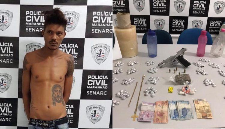 POLÍCIA CIVIL PRENDE HOMEM SUSPEITO POR TRÁFICO DE DROGAS NO BAIRRO DA AREINHA