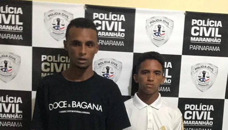 POLÍCIA CIVIL PRENDE 02 ACUSADOS PELA PRÁTICA DE ASSALTO EM PARNARAMA. A POLÍCIA REALIZA BUSCAS PARA ENCONTRAR O TERCEIRO ENVOLVIDO