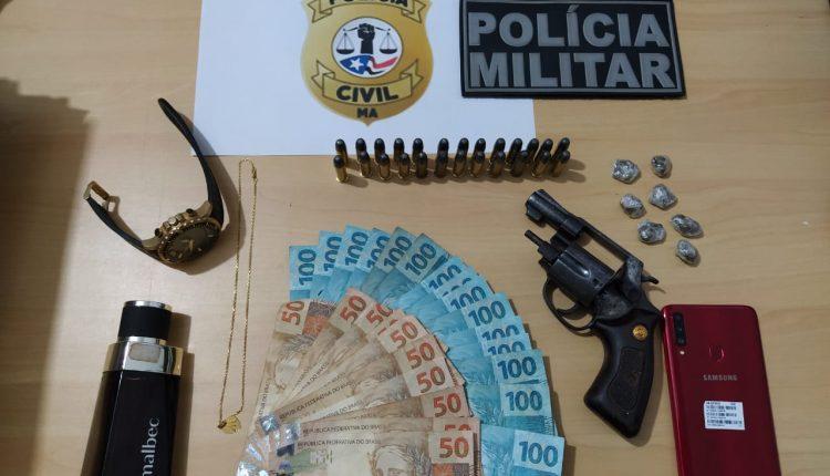 ASSALTANTE É PRESO COM REVÓLVER E DROGAS EM PAULO RAMOS/MA