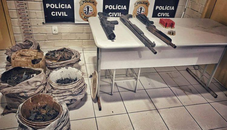 POLÍCIA CIVIL APREENDE ARMAS MUNIÇÕES E OUTROS EQUIPAMENTOS QUE SERIAM UTILIZADOS EM ASSALTO A BANCOS NO INTERIOR DO ESTADO