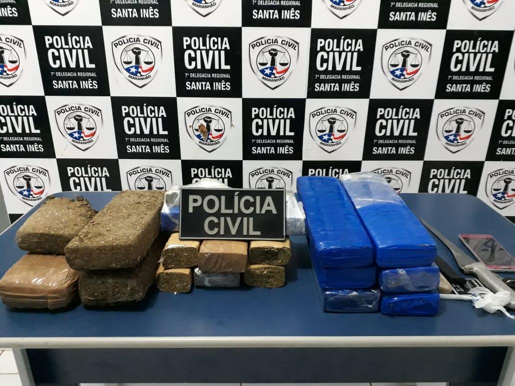 POLÍCIA CIVIL CUMPRE MANDADO DE PRISÃO E APREENDE MAIS DE 13KG DE MACONHA NA CIDADE DE SANTA INÊS/MA